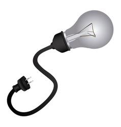 Silver bulb cable icon vector