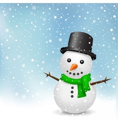 snowman on snow background vector image