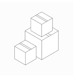 Stack of cardboard boxes icon isometric 3d style vector image