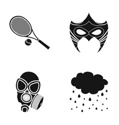 Tennis racket mask and other web icon in black vector