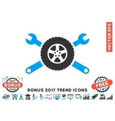 Tire service wrenches flat icon with 2017 bonus vector