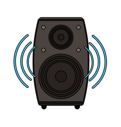 White background with loudspeaker in wood box vector