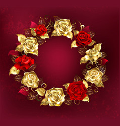 wreath of roses on red background vector image vector image