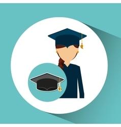 graduate student girl cap icon vector image