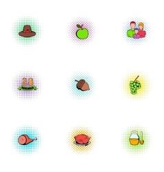 Gratitude celebration icons set pop-art style vector