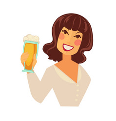 Woman holding glass of beer with foam isolated on vector