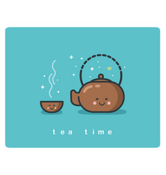 flat icon of tea time tea pot and cups cute vector image