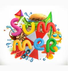 Summer holiday set summer beach 3d icon vector