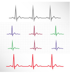 Elements and lines of normal ecg vector