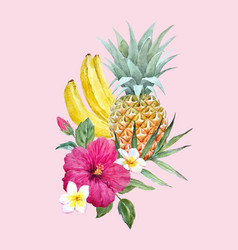 Watercolor pineapple fruit vector