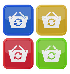 Four square color icons - shopping basket refresh vector