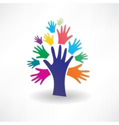Abstract tree of human hands icon vector