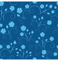 Dark blue seamless floral pattern vector