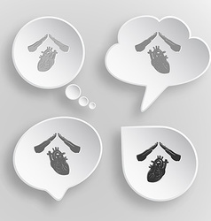 Heart protect white flat buttons on gray vector