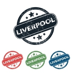 Round liverpool city stamp set vector