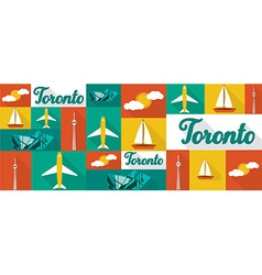 Travel and tourism icons toronto vector