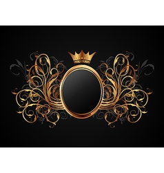 floral frame with heraldic crown - vector image