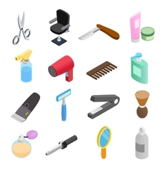 Barber shop isometric 3d icons vector