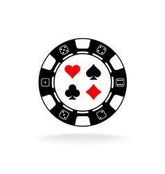Casino chip logo black poker chip with card suits vector