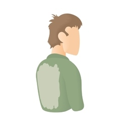 Man in a stained shirt on his back icon vector