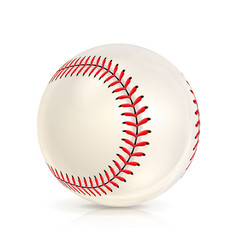 baseball leather ball isolated on white softball vector image vector image
