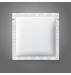Blank white plastic sachet for medicine condoms vector