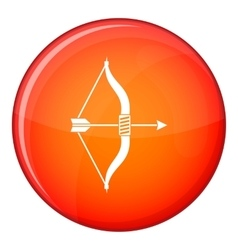 Bow and arrow icon flat style vector