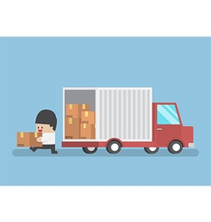 Businessman holding parcel from truck vector