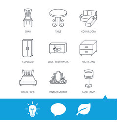 corner sofa table and cupboard icons vector image vector image