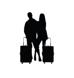 couple with travel bag vector image vector image