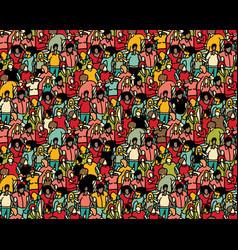 crowd big group people seamless pattern vector image
