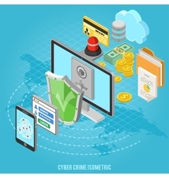 Cyber crime isometric concept vector image vector image
