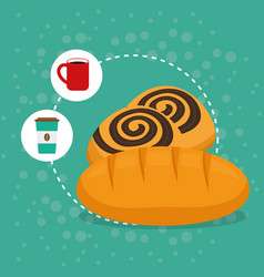 Delicious bread biscuit bakery coffee vector