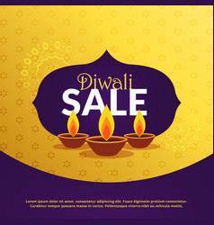 diwali festival sale background template with diya vector image