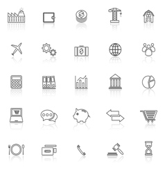 Economy line icons with reflect on white vector