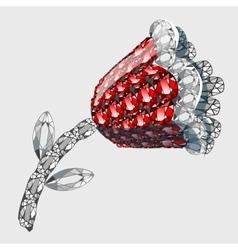 Flower made of precious stones rubies and diamonds vector image