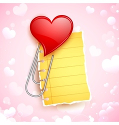 Heart shape paper clip vector
