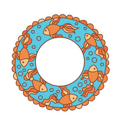inflatable ring with cartoon fishes colored vector image