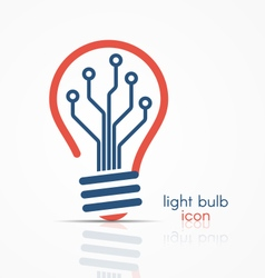 light bulb idea icon with circuit board inside vector image vector image