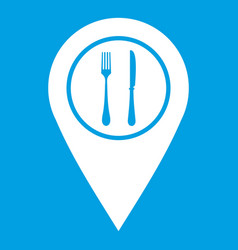 Map pin pointer with cafe or restaurant sign icon vector