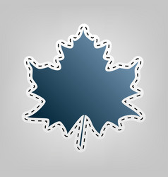 Maple leaf sign blue icon with outline vector