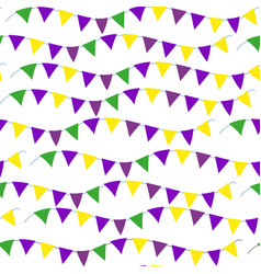 Mardi gras flag seamless pattern bunting endless vector