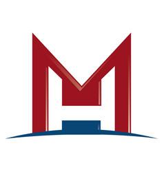 mh letter business branding logo design vector image vector image