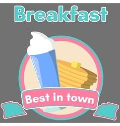 Milkshake and pancake vector image