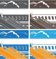 Modern jet airliner symbol vector