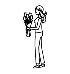 Mother woman flower bouquet celebration line vector