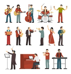 Musicians Color Icons Set vector image vector image