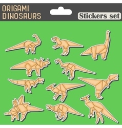Origami dinosaurs stickers set vector