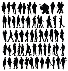 people set silhouette vector image vector image