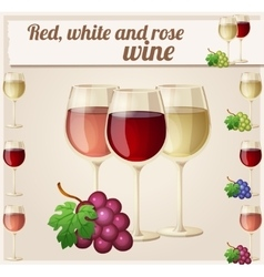 Red white and rose wine in glasses detailed vector